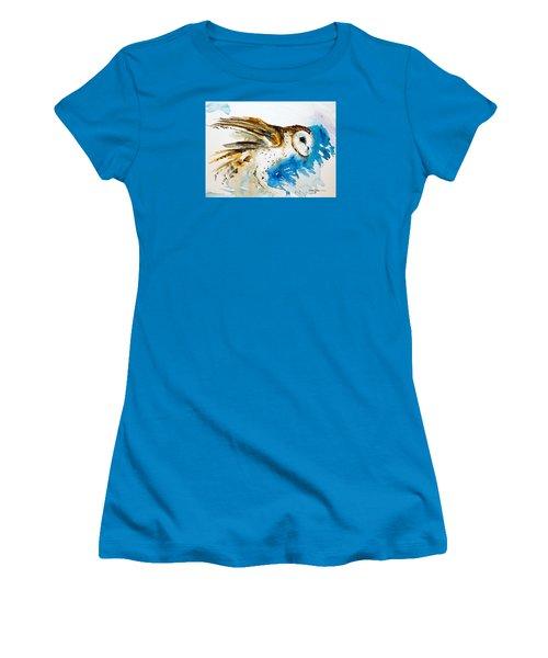 Da145 Barn Owl Ruffled Daniel Adams Women's T-Shirt (Athletic Fit)