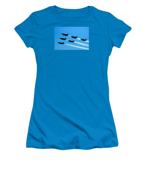 Women's T-Shirt (Junior Cut) featuring the photograph Blue Angels The Need For Speed by James Kirkikis