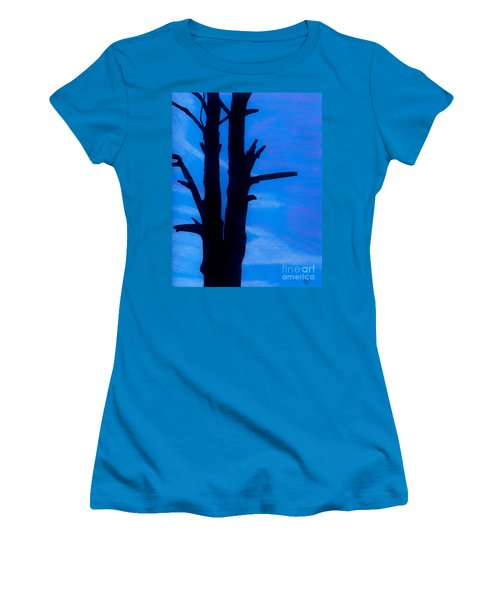 Women's T-Shirt (Junior Cut) featuring the drawing Blue Sky Tree by D Hackett