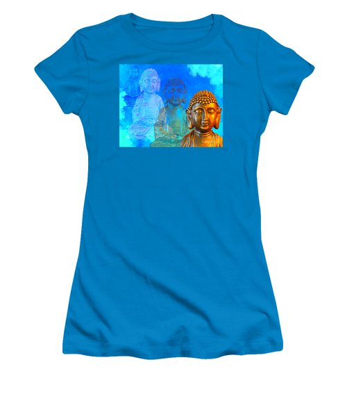 Women's T-Shirt (Junior Cut) featuring the sculpture Buddha's Thoughts by Ginny Gaura