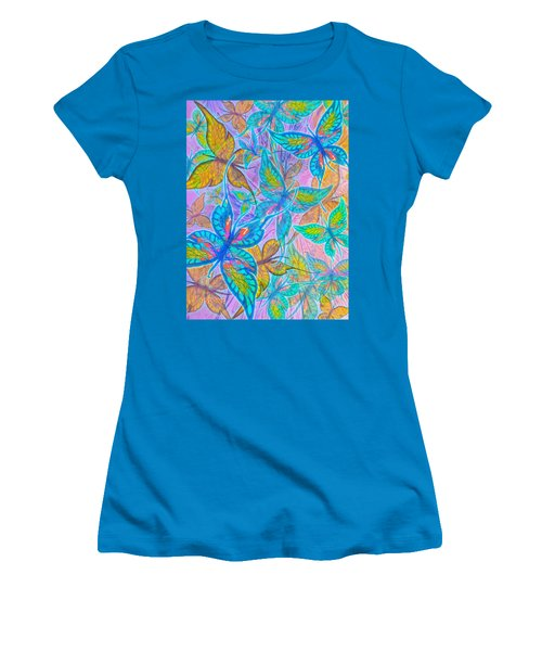 Women's T-Shirt (Junior Cut) featuring the mixed media Butterflies On Lilac by Teresa Ascone