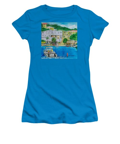 Cruz Bay St. Johns Virgin Islands Women's T-Shirt (Junior Cut) by Frank Hunter
