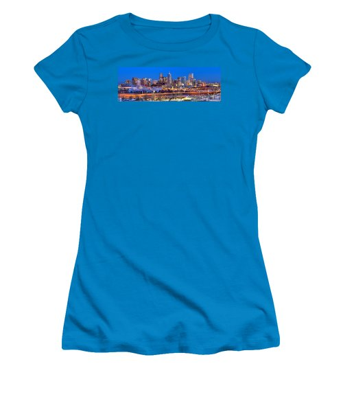 Women's T-Shirt (Junior Cut) featuring the photograph Denver Skyline At Dusk Evening Color Evening Panorama Broncos Colorado  by Jon Holiday