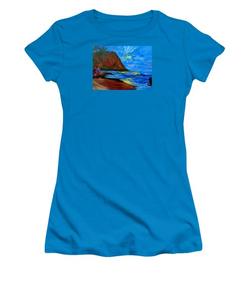Diamond Head Blue Women's T-Shirt (Junior Cut) by Jenny Lee