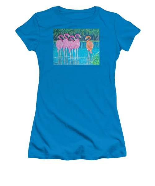 Women's T-Shirt (Junior Cut) featuring the painting Different But Alike by Susan DeLain