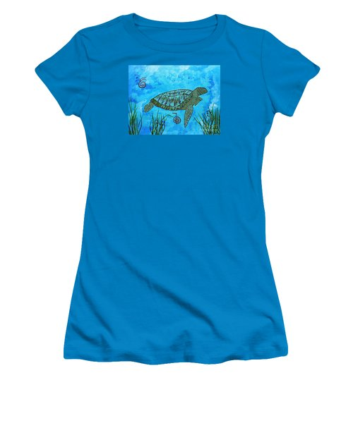 Emotional Healing With The Sea Turtle Women's T-Shirt (Athletic Fit)