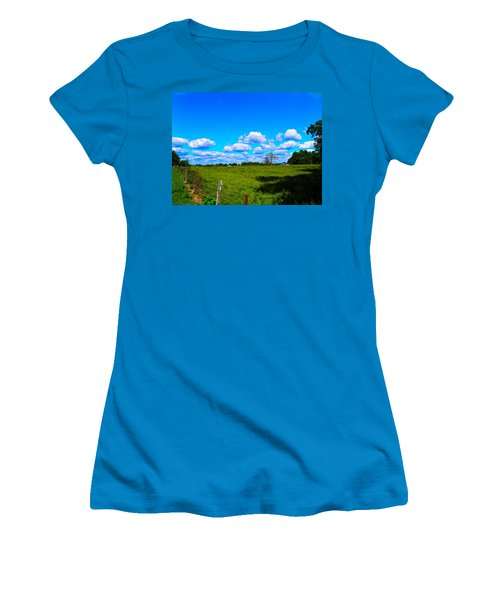 Fence Row And Clouds Women's T-Shirt (Junior Cut) by Nick Kirby