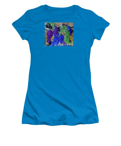 Women's T-Shirt (Junior Cut) featuring the painting Festival Of Grapes by Eloise Schneider