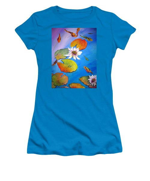 Women's T-Shirt (Junior Cut) featuring the painting Fish Pond I by Lil Taylor