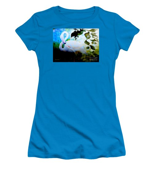 Women's T-Shirt (Junior Cut) featuring the photograph Flamingo by Annie Zeno