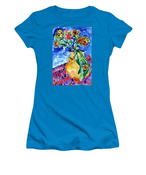 Flip Of Flowers Women's T-Shirt (Junior Cut) by Esther Newman-Cohen