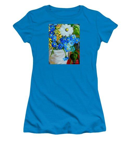 Flowers In A White Vase Women's T-Shirt (Junior Cut) by Eloise Schneider