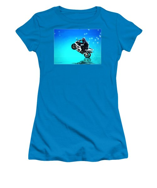 Women's T-Shirt (Junior Cut) featuring the photograph Flying Low One More Time On Two Wheels by Joyce Dickens