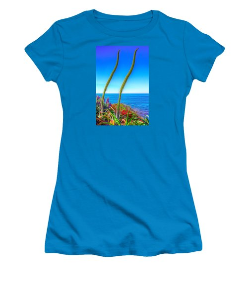 Women's T-Shirt (Junior Cut) featuring the photograph Foxtails On The Pacific by Jim Carrell