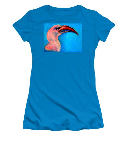 Funky Red-billed Hornbill Art Print Women's T-Shirt (Athletic Fit)