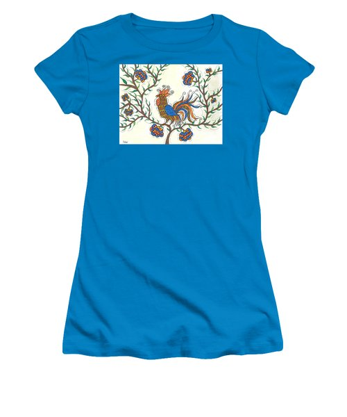 Women's T-Shirt (Junior Cut) featuring the painting In The Garden - Barnyard Style by Susie WEBER