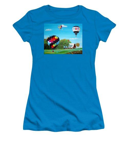 Iowa Balloons Women's T-Shirt (Junior Cut) by Phyllis Kaltenbach
