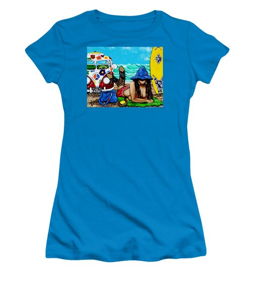 Women's T-Shirt (Junior Cut) featuring the painting J. C. Beaching It In 1961 by Jackie Carpenter