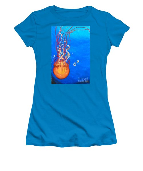 Women's T-Shirt (Junior Cut) featuring the painting Jellyfish by Marisela Mungia