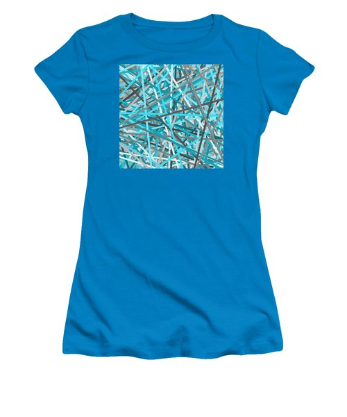 Link - Turquoise And Gray Abstract Women's T-Shirt (Athletic Fit)