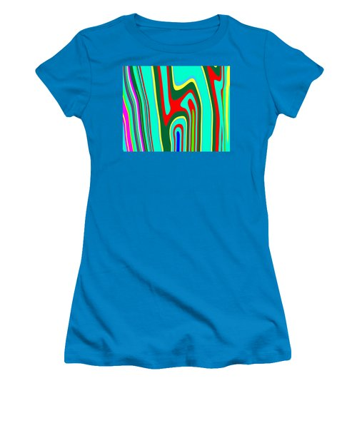 Women's T-Shirt (Junior Cut) featuring the painting Mod Stripes  C2014 by Paul Ashby