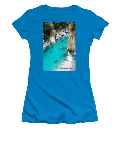 Women's T-Shirt (Junior Cut) featuring the painting Mountain Pool by Bruce Nutting