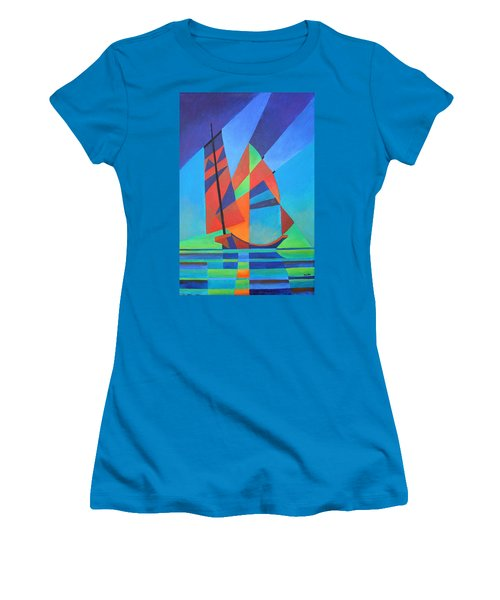 Women's T-Shirt (Junior Cut) featuring the painting Nightboat by Tracey Harrington-Simpson