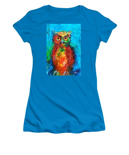 Women's T-Shirt (Junior Cut) featuring the painting Owl In The Night by Faruk Koksal