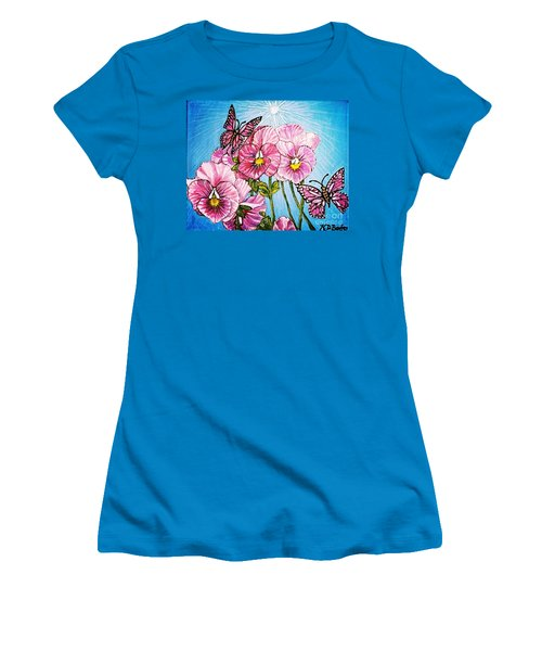 Women's T-Shirt (Junior Cut) featuring the painting Pansy Pinwheels And The Magical Butterflies With Blue Skies by Kimberlee Baxter