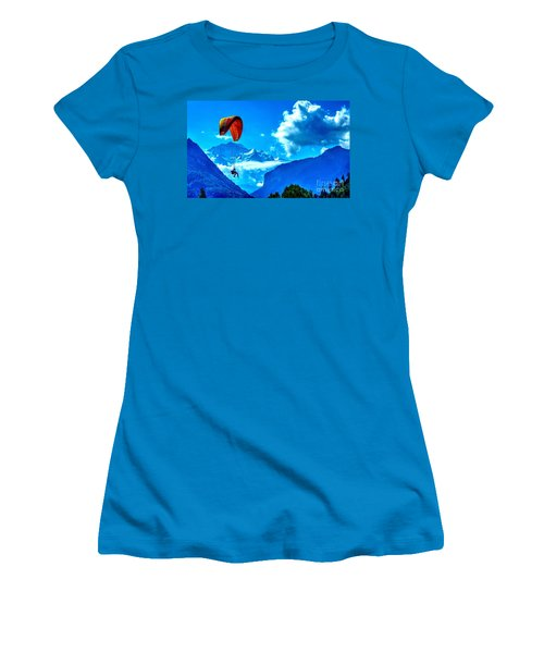 Women's T-Shirt (Junior Cut) featuring the photograph Parasailing Swiss Alps by Joe  Ng