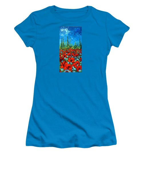 Poppie Field Women's T-Shirt (Junior Cut) by Katia Aho