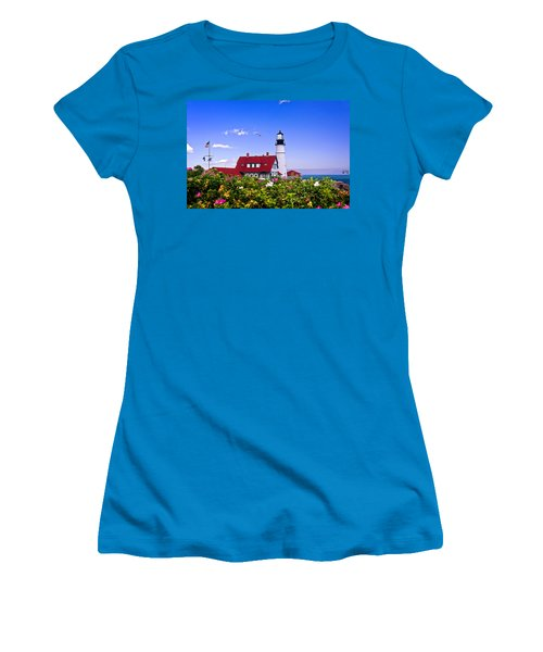 Portland Head Light And Roses Women's T-Shirt (Junior Cut) by Mitchell R Grosky