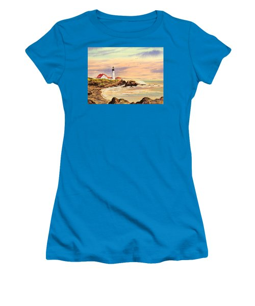 Women's T-Shirt (Athletic Fit) featuring the painting Portland Head Lighthouse Maine by Bill Holkham