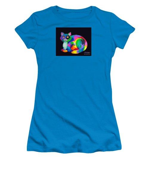 Rainbow Calico Women's T-Shirt (Junior Cut) by Nick Gustafson