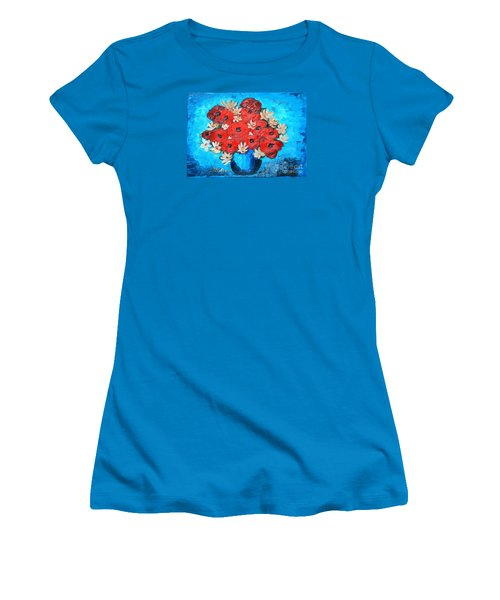 Red Poppies And White Daisies Women's T-Shirt (Junior Cut) by Ramona Matei