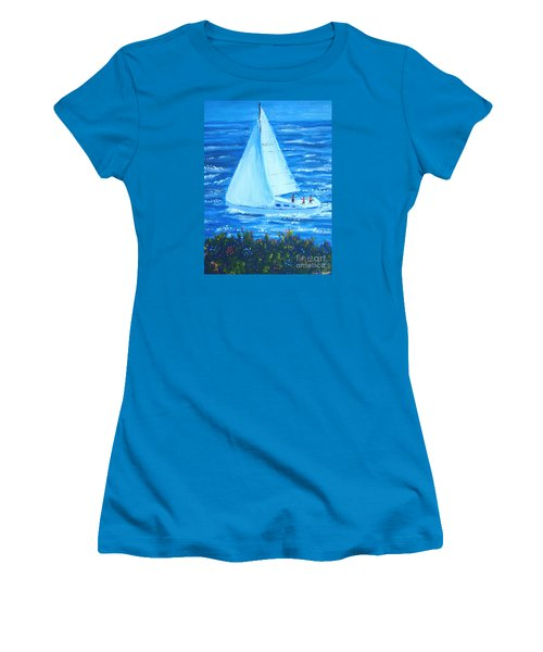 Sailing Off The Coast Women's T-Shirt (Athletic Fit)