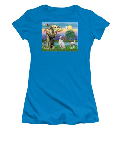 Saint Francis Blesses An English Setter Women's T-Shirt (Athletic Fit)