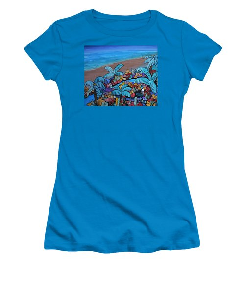 Women's T-Shirt (Junior Cut) featuring the painting Santa Barbara Beach by Barbara St Jean