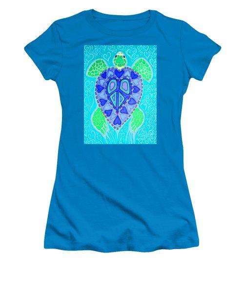 Sea Turtle Swim Women's T-Shirt (Junior Cut) by Nick Gustafson