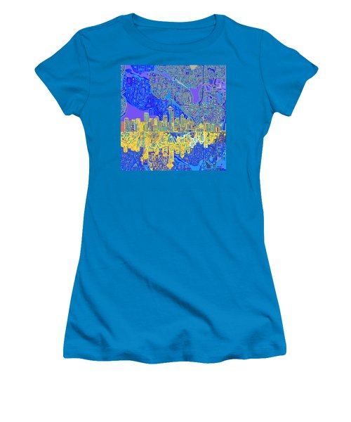 Seattle Skyline Abstract 6 Women's T-Shirt (Athletic Fit)