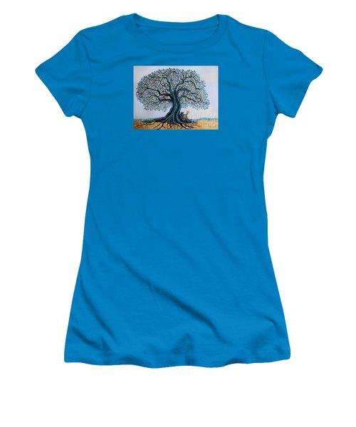 Singing Under The Blues Tree Women's T-Shirt (Junior Cut) by Nick Gustafson