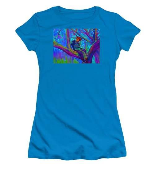 Small Boy In Large Tree Women's T-Shirt (Athletic Fit)