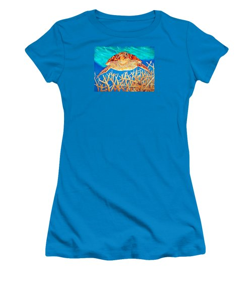 Sea  Turtle Soaring Over Staghorn Women's T-Shirt (Athletic Fit)