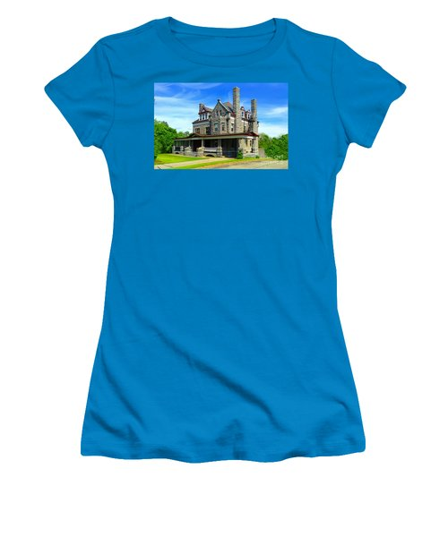 Women's T-Shirt (Junior Cut) featuring the photograph Stone Mansion Blue Sky by Becky Lupe