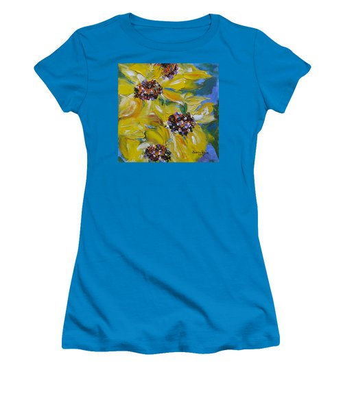 Women's T-Shirt (Athletic Fit) featuring the painting Sunflower Quartet by Judith Rhue