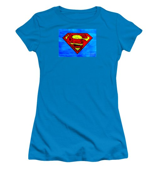 Women's T-Shirt (Junior Cut) featuring the drawing Superman And Doomsday R Y D by Justin Moore