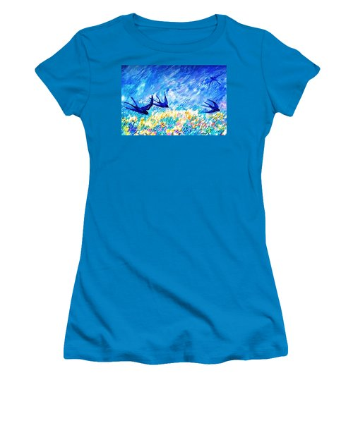 Swallows In Summer Women's T-Shirt (Junior Cut) by Trudi Doyle