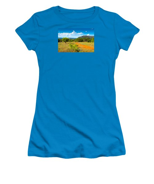 Texas Hill Country Red Dirt Road Women's T-Shirt (Junior Cut) by Darryl Dalton