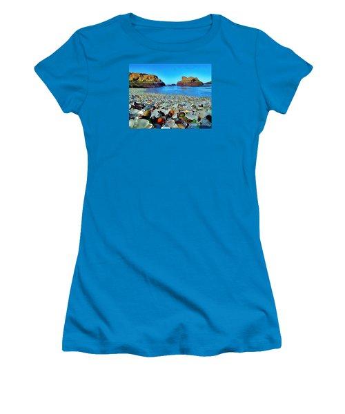 Glass Beach In Cali Women's T-Shirt (Junior Cut) by Catherine Lott