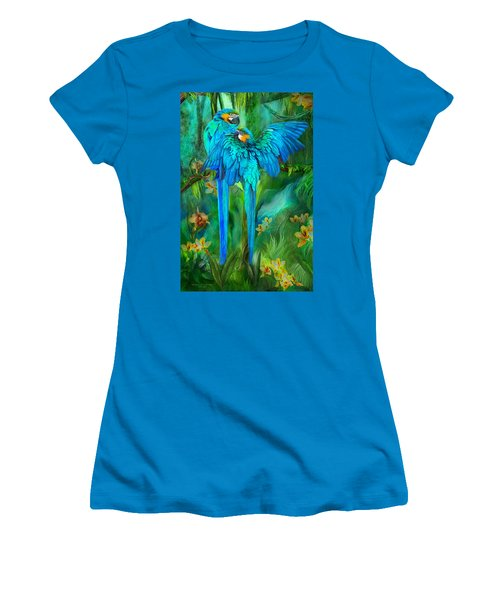 Women's T-Shirt (Athletic Fit) featuring the mixed media Tropic Spirits - Gold And Blue Macaws by Carol Cavalaris